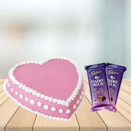 Heart Shape Strawberry Cake with Cadbury Silk Combo