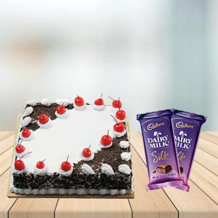 Square Black Forest Cake with Cadbury Silk Combo