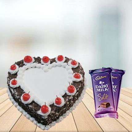 Heart Shape Black Forest Cake with Cadbury Silk Combo