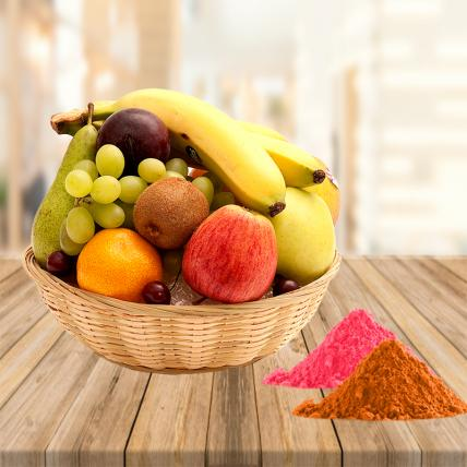 Fresh Fruits Basket With Free Gulal
