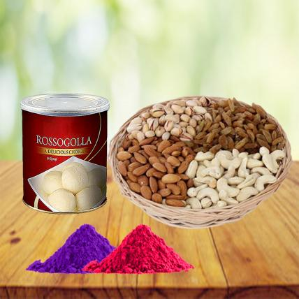 Dry Fruits and Sweets Combo with Free Gulal
