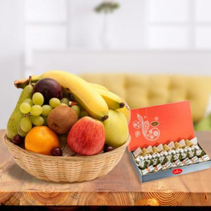Fresh Fruits Basket with Sweets