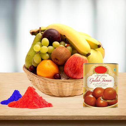 Fresh Fruits Basket and Gulab Jamun with Free Gulal
