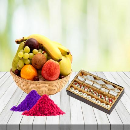Fresh Fruits Basket and Assorted Mixed Sweets with Free Gulal