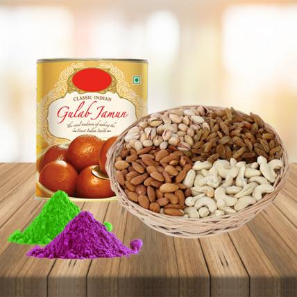 Mixed Dry Fruits and Sweets Combo with Free Gulal