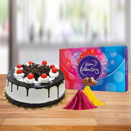 Black Forest Cake and Celebration Chocolate with Free Gulal