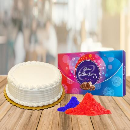 Vanilla Cake and Celebration Chocolate with Free Gulal