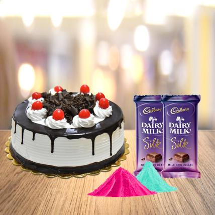 Black Forest Cake and Cadbury Silk with Free Gulal