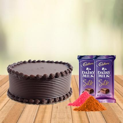 Chocolate Cake and Cadbury Silk with Free Gulal