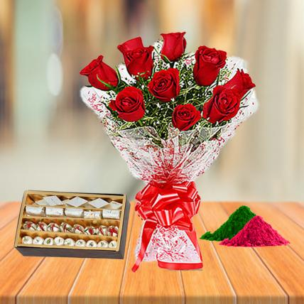 Red Roses and Assorted Sweets with Holi Colors
