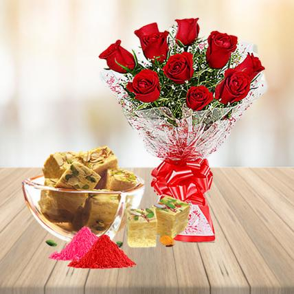 Red Roses and Soan Papdi with Holi Colors