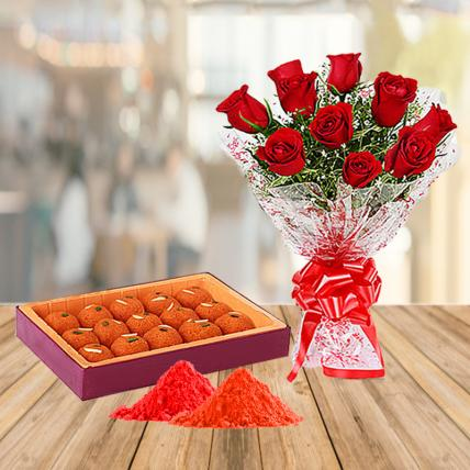 Red Roses and Motichoor Ladoo with Holi Colors