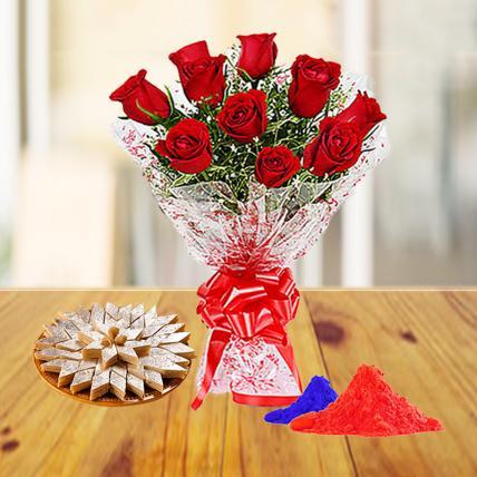 Red Roses and Kaju Katli with Holi Colors