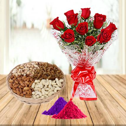 Red Roses and Mixed Dry Fruits with Holi Colors