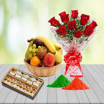 Red Roses, Mixed Assorted Sweets and Fresh Fruit Basket with Free Gulal