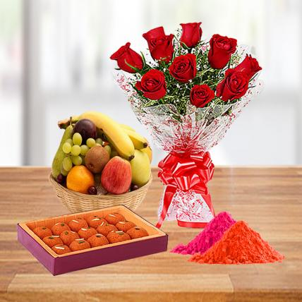 Red Roses, Motichoor Ladoo and Fresh Fruit Basket with Free Gulal
