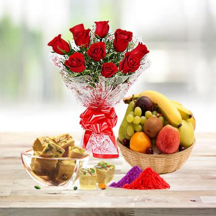 Red Roses, Soan Papdi and Fresh Fruit Basket with Free Gulal