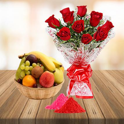 Red Roses and Fresh Fruit Basket with Free Gulal