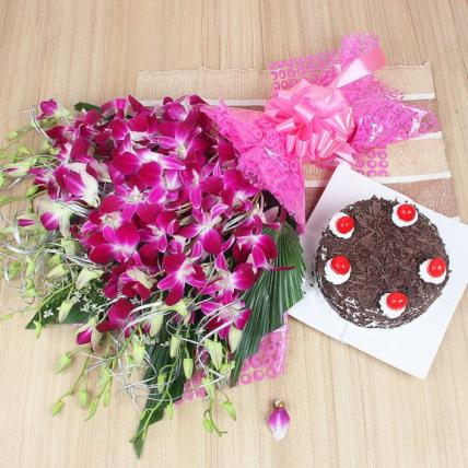 Premium Black Forest Cake From 5 Star With Lovely orchids