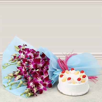 Premium Pineapple Cake From 5 Star With Lovely orchids