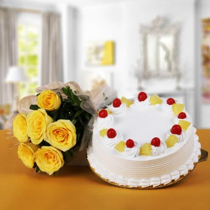 Premium Pineapple Cake From 5 Star With Sunshine Yellow Roses