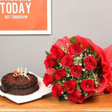 Premium Chocolate Truffle Cake From 5 Star With Cute Red Roses
