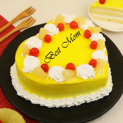 Premium Best Mom Heart Shape Pineapple Cream Cake
