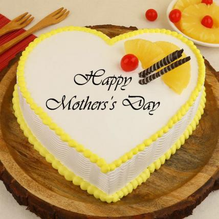 Mothers Day Heart Shape Pineapple Cream Cake