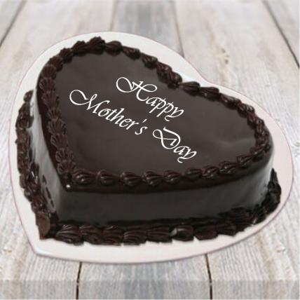 Mothers Day Heart Shape Chocolate Truffle Cake