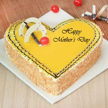 Premium Mothers Day Heart Shape Butterscotch Cake