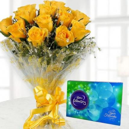 Yellow Roses and Cadbury Celebration Combo