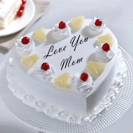Love You Mom Heart Shape Pineapple Cake