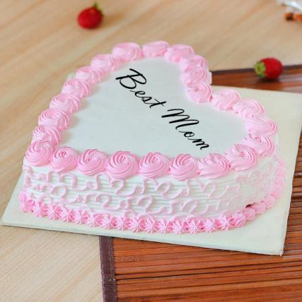 Best Mom Fresh Heart Shape Strawberry Cake