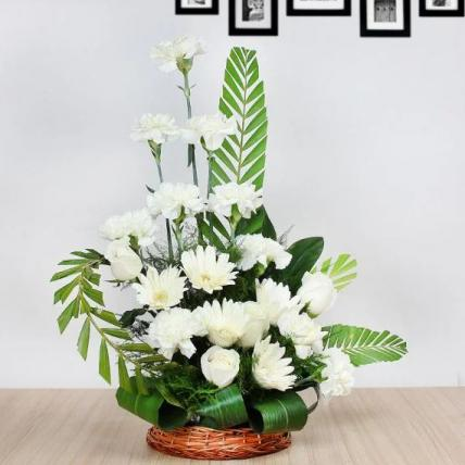 White Mixed Flowers Basket