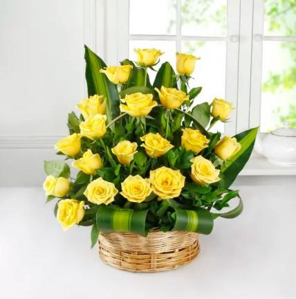 Yellow Roses Basket Large