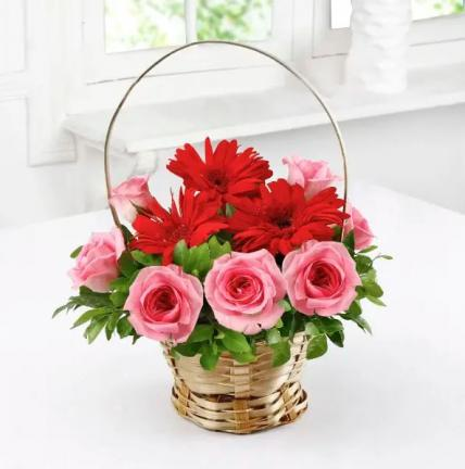 Beautiful Basket of Red Gerberas & Pink Roses