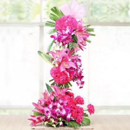 Orchids, Carnations and Lilies Tall Arrangement