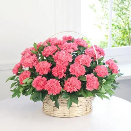 Pink Carnations Basket Large
