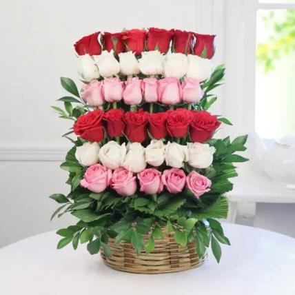 Mixed Roses Arrangement in Basket
