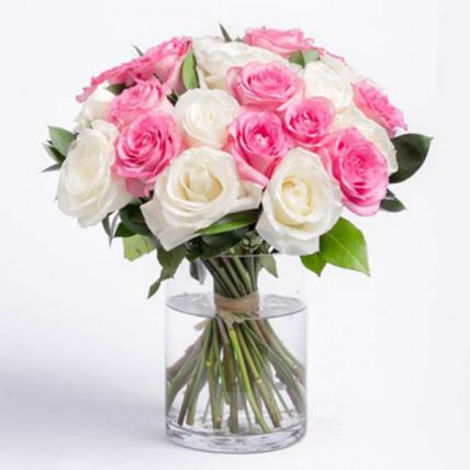 White & Pink Roses Vase Large