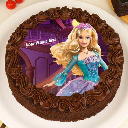 Chocolate Barbie Photo Cake