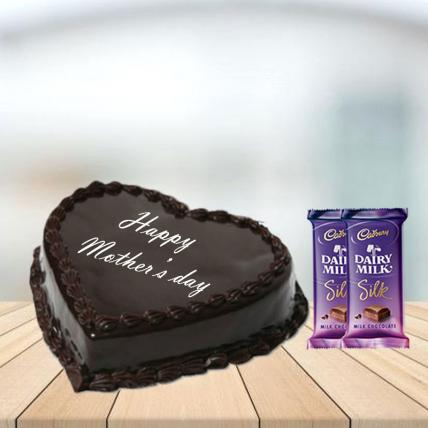 Mother Day Heart Shape Chocolate Cake with Cadbury Silk Combo