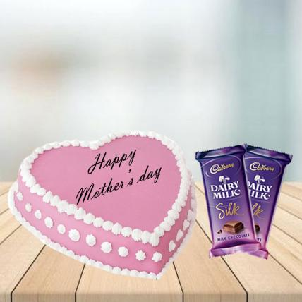 Mother Day Heart Shape Pink Strawberry Cake with Cadbury Silk Combo