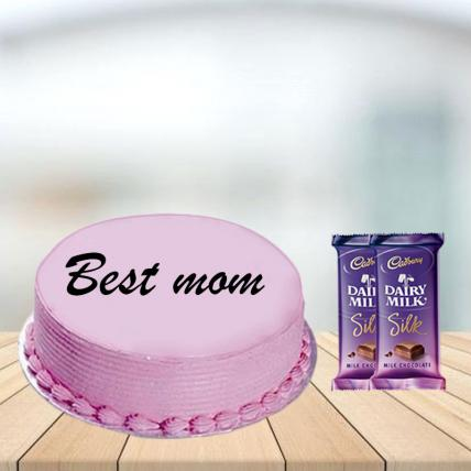 Mothers Day Pink Strawberry Cake with Cadbury Silk Combo