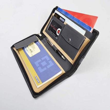 Cheque Book Holder and Document Folder (Black & Grey)