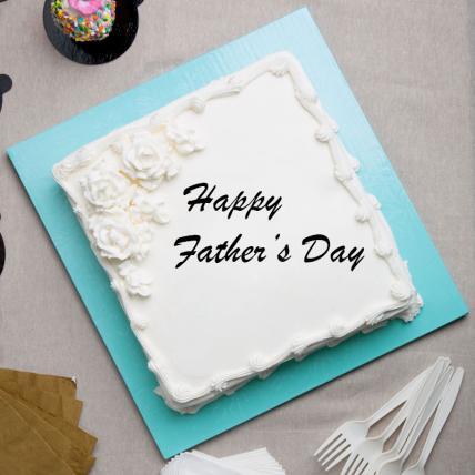 Fathers Day Square Vanilla Cake