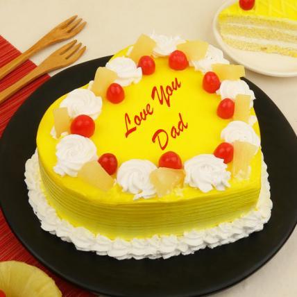 Father's Day Premium Heart Shape Pineapple Cream Cake