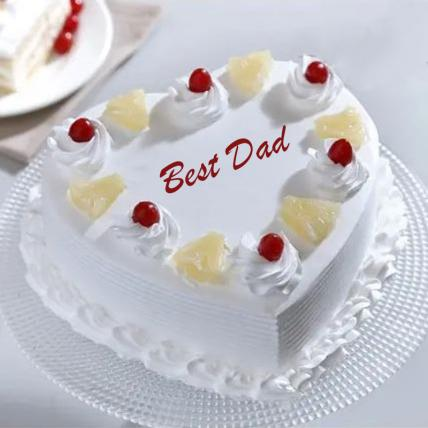 Best Dad Heart Shaped Pineapple Cake