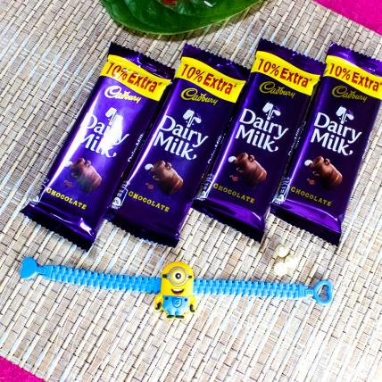 Minions Band Rakhi With Chocolates