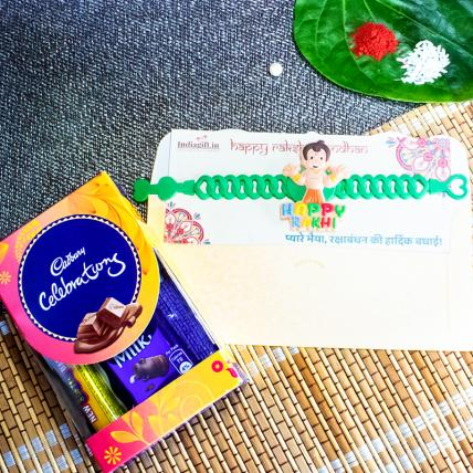 Chota Bheem Band Rakhi With Chocolates